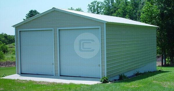 22x21 Prefabricated Metal Garage Enclosed Steel Frame With Images Metal Garages Garage Prices Metal Shop Building