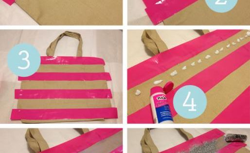 gift bag idea: how to evenly stripe a bag with glitter