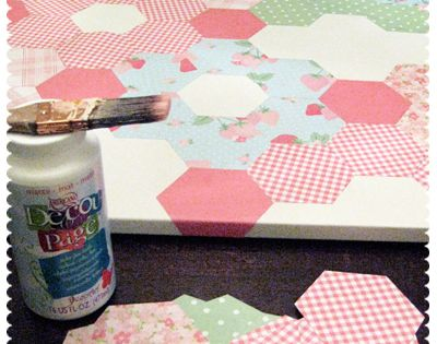 DIY paper quilt on canvas. Cute in a girls bathroom or in