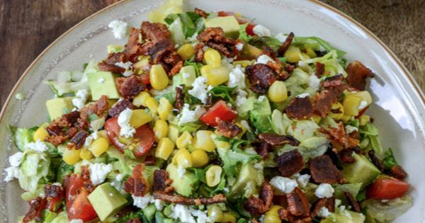 BLT Chopped Salad with Corn, Feta   Avocado | howsweeteats.com