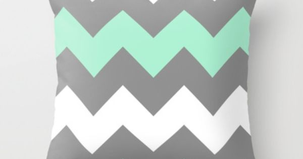 Mint White Grey Chevron Throw Pillow by CreativeAngel - $20.00 | See