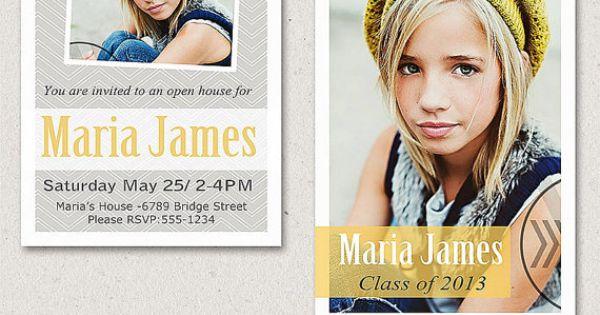5x7 Senior Graduation Announcement Card Photoshop Template