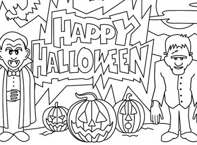 Halloween Coloring Page Happy Halloween Dracula And Frankenstein Have Come Out To Wish Y Halloween Coloring Pages Halloween Coloring Halloween Coloring Book