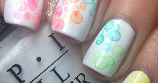 Cute rainbow bubble nails! Now I want to try white nail polish with some design.