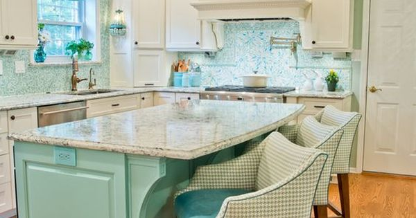 Turquoise And Teal Coastal Kitchen Remodel