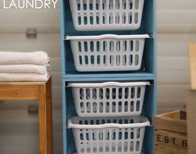 """DIY Laundry Basket Dresser."" Nice idea for laundry room organization"