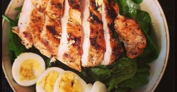 Chicken salad with boiled egg