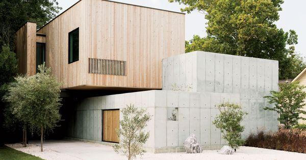 Modern Texas Home Facade With Concrete Walls And Siberian