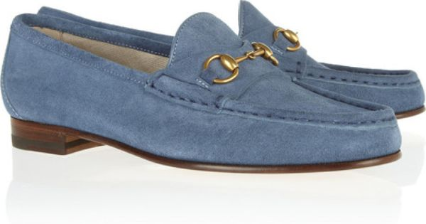 72ff59f865d GUcci Horse Bit Detailed Suede Loafers - Lyst