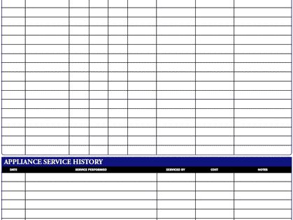Appliance Inventory Service Log Lease Agreements