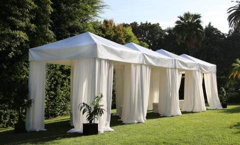 White Cabana With Drapes 10 X 10 Town Country Event Rentals Cabana Decor Event Tent Outdoor Cocktail Party