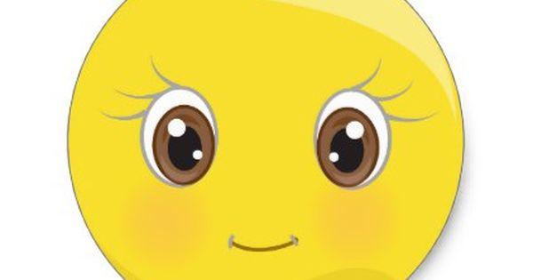 Cute Emoji With Eyelashes Stickers Zazzle Com In 2020 Cute Emoji Emoji Emoji Wallpaper