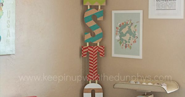 DIY - painted name letters, hung Vertically vs Horizontally. Love this for a little boys name!