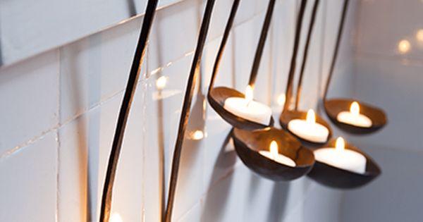Spoons as tea light holders - Rustic bathroom