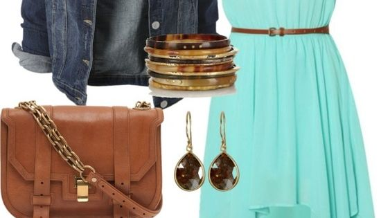 I really like this look! I like how the dress is longer in the back and I LOVE the color. I love the flat shoes! A jean jacket is easy to pull over an outfit, making it casual. I like the suggestions for the jewelry. Women's apparel, http://www.lolomoda.c...