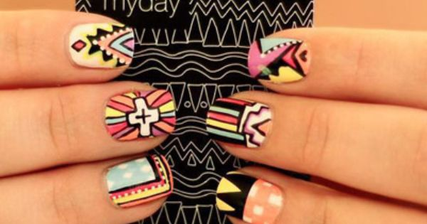 The 43 Most Amazing Manicures On Instagram. Aztec tribal print nail art.