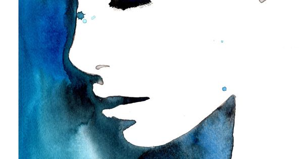 negative space watercolor Print from original watercolor fashion illustration by Jessica Durrant