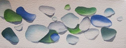 I Love Playing With Beach Glass Watercolor Sea Glass Art