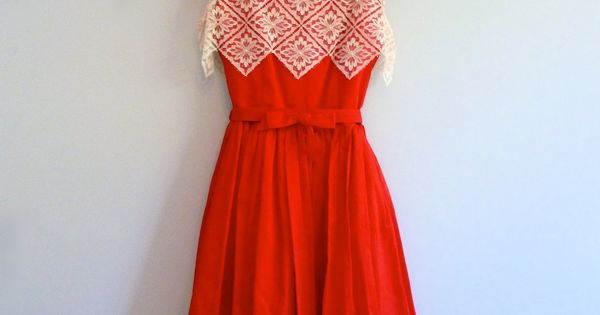 Red White Lace 1950s Party Dress Zig Zag Full Skirt Holiday Dress