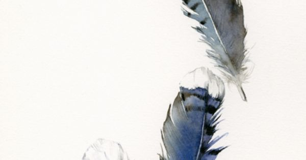 #blue feathers art watercolor