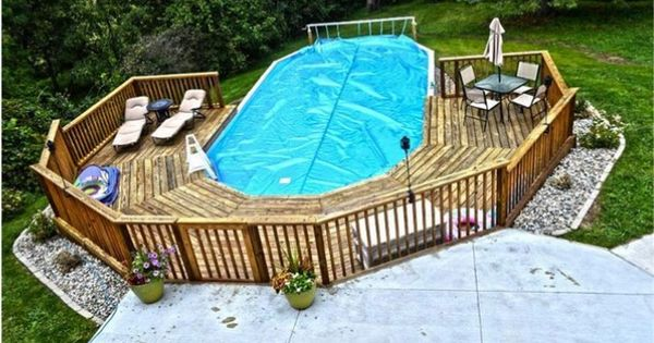 Ideal Pool Deck For Oval Pool Home Ideas Pinterest