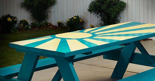 Diy Sunburst Painted Picnic Table Picnic Tables Spray