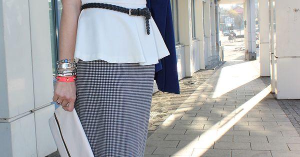 Bleistiftrock in vichykaro und ein peplum top for Outfit bauch kaschieren