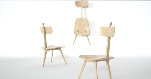 A Three Legged Chair That Neatly Folds Flat Wood Design