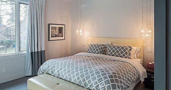 Kleines schlafzimmer grau weii teppichboden pendlleuchten neben bett bett pinterest - Teppichbode schlafzimmer grau ...