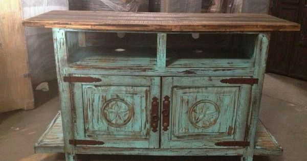 Tv Stand Turquoise Distressed Wood Furniture Pieces I
