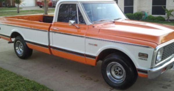 1971 Cheyenne Chevy Truck Rare Orange And White Classic Chevy Trucks Chevy Trucks Lowered Lifted Chevy Trucks