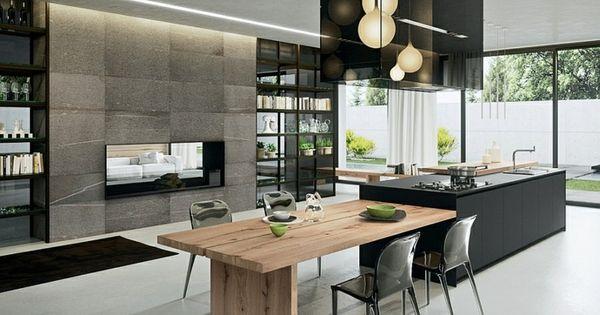 Dise o de cocina moderna en negro y madera cocinas - Cocinas diseno moderno ...