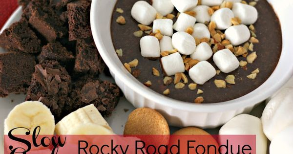 Slow Cooker Rocky Road Fondue {source: Six Sisters Stuff}