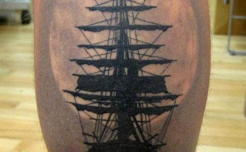 beautiful ship tattoo. I can't abide by a calf tattoo though