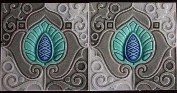 jugendstil fliesen art nouveau tile c1900 tegels carreau blume jugendstil pinterest. Black Bedroom Furniture Sets. Home Design Ideas