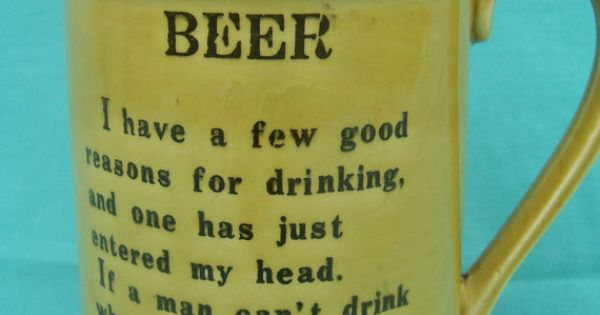 Vintage Beer Mug With Funny Poem Poem And Famous Quotes
