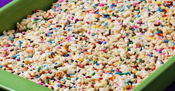 Warning: cake batter rice crispy treats. You will probably never make regular