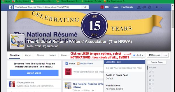Remember to set your #TheNRWA Facebook pg notifications to ON as - national resume writers association