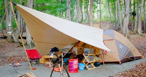 小川張りとは キャンパルジャパンが提唱するタープと テントの連結方法 小川張りに必要なセッティングテープの自作方法と設営イメージを紹介します さまざまな連結方法がある中で 小川張りが不動の人気を誇るワケとは 2020 キャンプ アウトドア キャンプ場