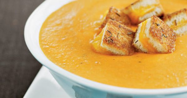 Roasted Tomato Soup Recipe | Spoonful - love the grilled chees croutons!
