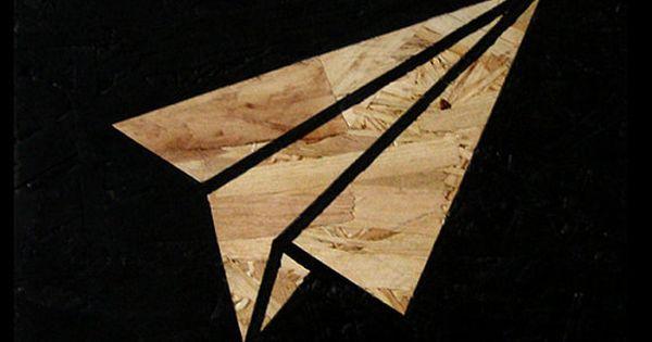 avion de papier peinture acrylique bord osb art decoration murale bois int rieur avion. Black Bedroom Furniture Sets. Home Design Ideas
