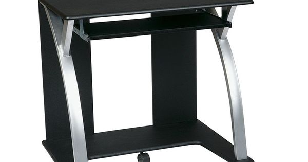 computer cart black with silver office furniture