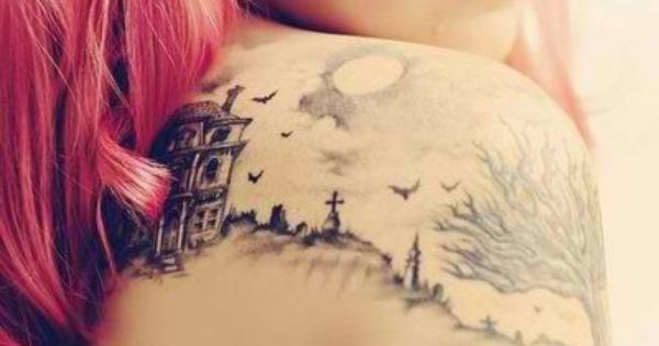 Landscape tattoo, Pink hair woman