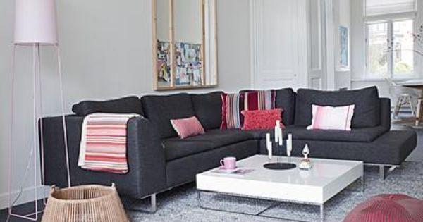bruine bank wit interieur - woonkamer | pinterest, Deco ideeën