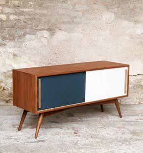 Meuble Tv Enfilade En Chene Comprenant 2 Portes Et 2 Niches Meuble Tv Teck Mobilier De Salon Meuble Vinyle