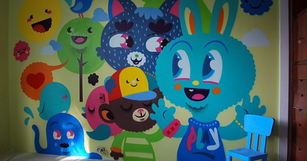 cool wall art in kids room