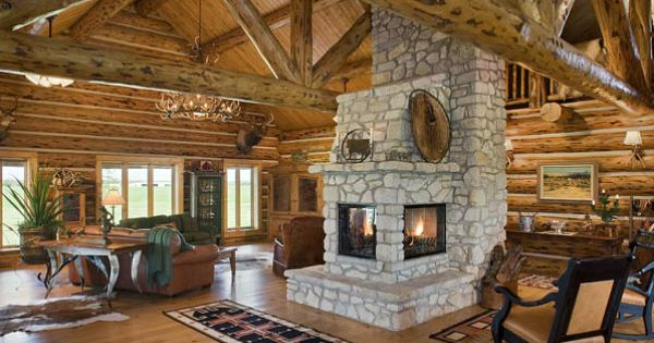 Log cabin with 3 sided fireplace cozy rustic design for Log cabin fireplace designs