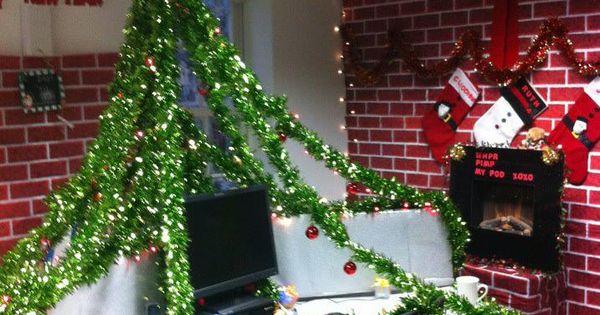 Work Pod Decorating Ideas Christmas : Christmas work desk pod decorations under the