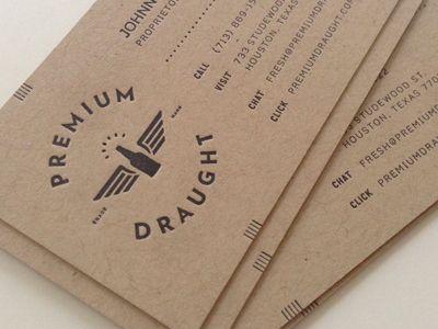 Premium Draught Bcs Retro Business Card Vintage Business Cards Business Card Design