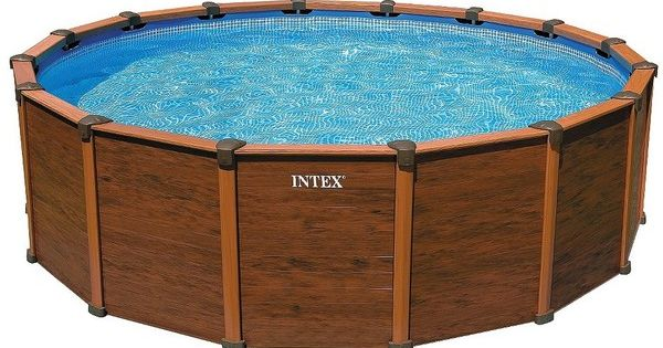 intex wood grain pool 18ft x52in 1 169 liked on polyvore featuring furniture and swim. Black Bedroom Furniture Sets. Home Design Ideas